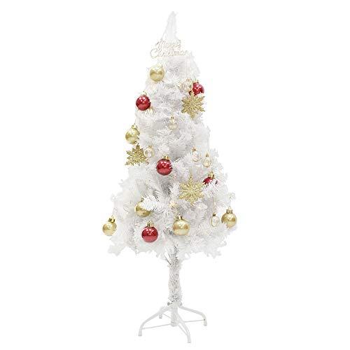 ホワイト クリスマスツリー 120cm 電飾 LED 100球 オーナメント セット クリスマスツリー 2020 ツリー ツリーセット おしゃれ 飾り 付 イルミネーション オーナメントセット スリム 簡単 ショップ 店舗 用