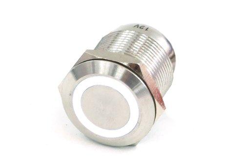 Phobya Vandalismus/Klingeltaster 19mm Edelstahl, weiß Ring beleuchtet 6pin Wasserkühlung Überwachung