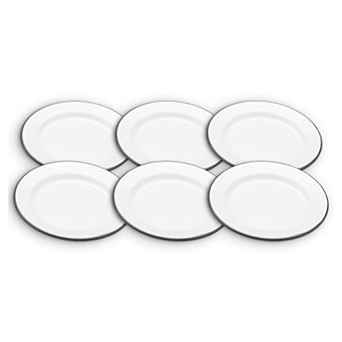 Kitchen Craft Living Nostalgia Emaille Beilagenteller, 20cm, Weiß, Set mit 6 Stück, Stahl, weiß, 20 cm