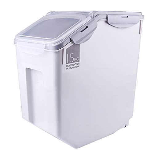 Gettesy 15 kg Reisbehälter Reisbox Aufbewahrung Reisbehälter Müslibehälter Lebensmittel Aufbewahrungsbox Küche Getreide Aufbewahrungsbox für Küche – Grau