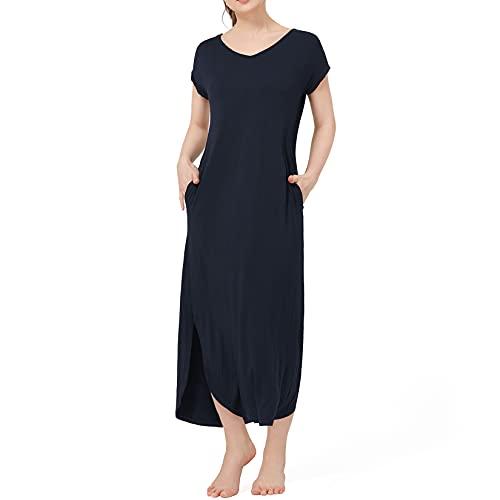 Vestidos Mujer Casualr Vestido Largo Dividido con Cuello en V sólido Vestido Largo de Playa Suelta de Manga Corta