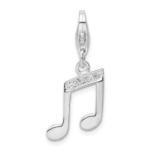 925 Sterling Silver Rh Cubic Zirconia Cz Music Note Lobster Clasp Pendant Charm Necklace Musical Fine Jewelry For Women Gifts For Her