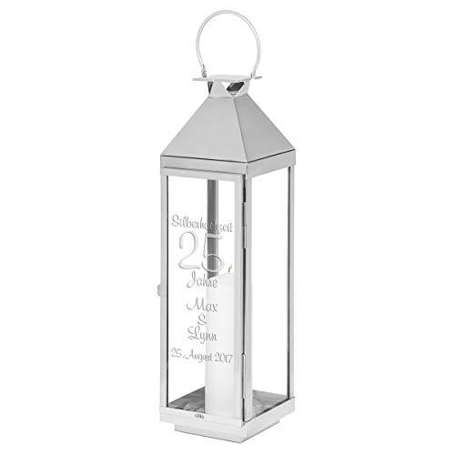 Geschenke 24, hoogwaardige CILIO lantaarn voor zilveren bruiloft, gepersonaliseerd cadeau voor de 25e Huwelijksdag voor echtparen - wij graveren twee namen en een datum.