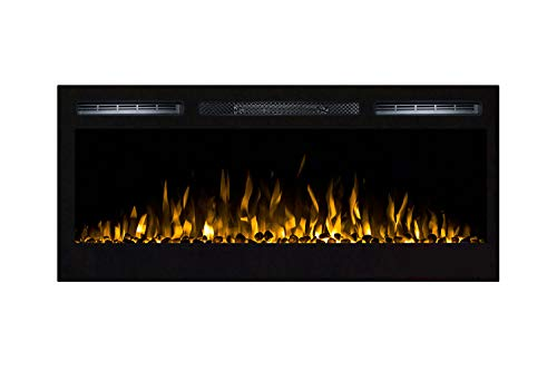 Moda Flame 35 Inch Cynergy Pebble Stone Built-In Wall Mounted Electric Fireplace