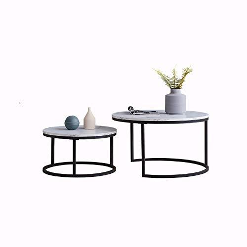 LongJiang Set di 2 tavolini da salotto in legno e metallo, rotondi, di alta qualità, in stile industriale, con bordo bianco e nero