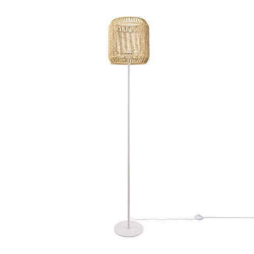 Paco Home LED Stehlampe Modern Wohnzimmer Schlafzimmer Rattan Optik Boho Korb Stehleuchte E27, Lampenfuß:Einbeinig Weiß, Lampenschirm:Natur (Ø28 cm)
