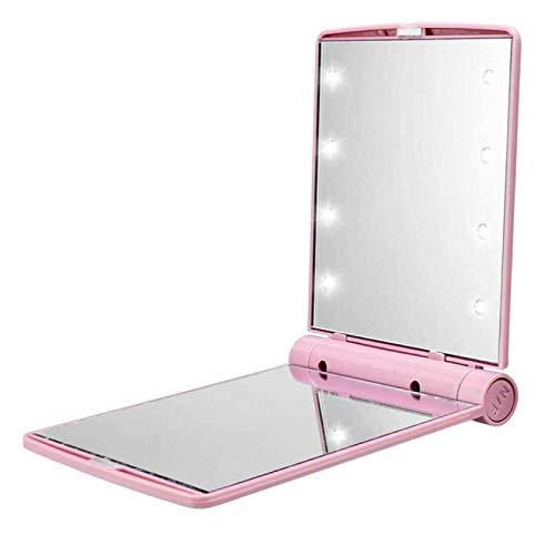DUKAILIN Espejo Plegable para Maquillaje, Espejo Plegable de plástico ABS portátil para Exteriores para Mujer con 8 Luces LED