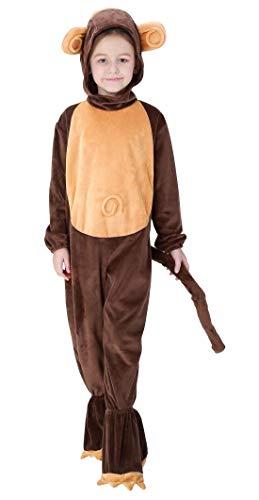 Aivtalk Kinder Tierkostüm AFFE Kinderkostüm Tier Kapuzenanzug für Halloween Fasching Kinderparty Karneval, Nachtwäsche Größe S für Körpergrößer 110-115cm - AFFE Braun