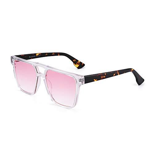 GLINDAR Retro Square Sungalsses Hombres Mujeres Gradient Aviator Glasses Acetate Frame Clear / Gradient Pink