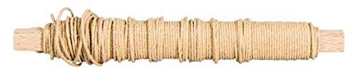 Rayher 24116505 Papierdraht, 0,55 mm ø, auf Holzwickel 50 g, ca. 20 m, Basteldraht, Papier umwickelter Draht, natur