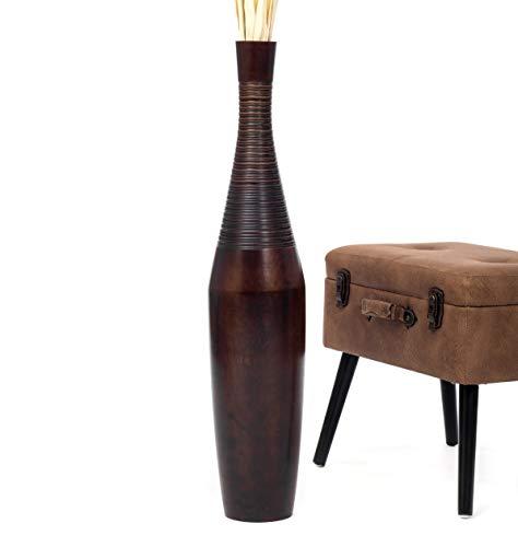 Leewadee Große Bodenvase für Dekozweige hohe Standvase Design Holzvase 90 cm, Mangoholz, braun