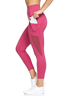 BSP Better Sports Performance Women's High Waist Leggings - 7/8 Workout Pants with Mesh Pocket,Non See-Through Cerise