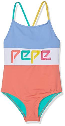 Pepe Jeans Mädchen Logo Swimsuit Einteiler, Mehrfarbig (Multi 0Aa), 8 Jahre (Herstellergröße: 8)