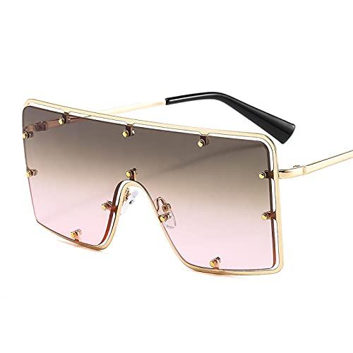 Único Gafas de Sol Sunglasses Gafas De Sol Cuadradas De Gran Tamaño Vintage para Hombres Y Mujeres, Gafas De Sol con Mon