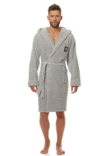 L&L - Bruce Kurz Schlafrock für Männer. Extrem Flauschig und weicher Bademantel. Schlafrock mit Kapuze für Männer (Melange, X-Large)