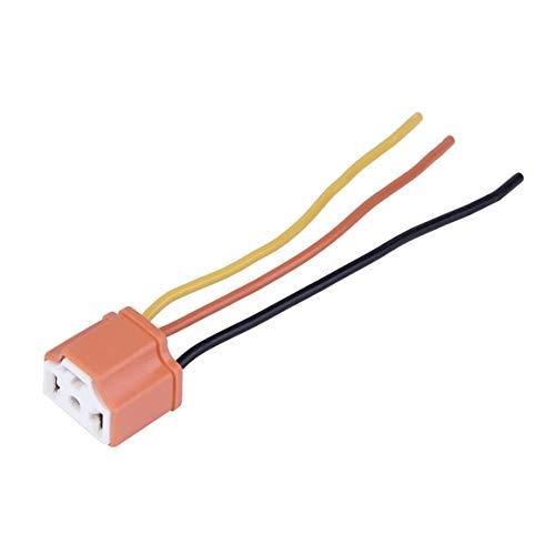 KoelrMsd H4 Coche Camión Hembra Conector de extensión de Faro de cerámica Enchufe Lámpara de luz Adaptador de Enchufe de Cable 12V Naranja