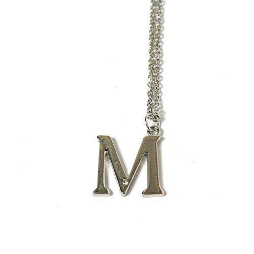 New Silberfarbene Halskette Buchstabe M mit Strassstein