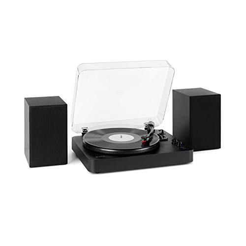 auna TT-Play SE Plattenspieler - Turntable, Stereolautsprecher: 20 Wmax., Bluetooth, 33/45/78 U/min, Riemenantrieb, Stereo-Keramikabnehmer, Pitch Control, AUX In, Audio Out, schwarz