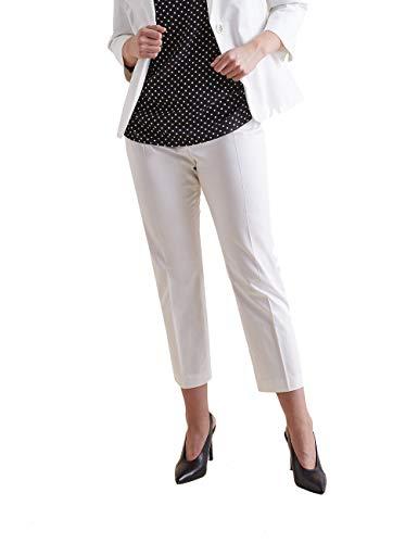 Elena Mirò : Pantaloni Dritti in Raso Bianco 41 (Italian Size)