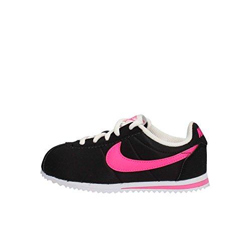 Nike Mädchen Cortez Nylon (PS) Laufschuhe, Black (Schwarz/Pink-Weiß Explosion), 33 EU
