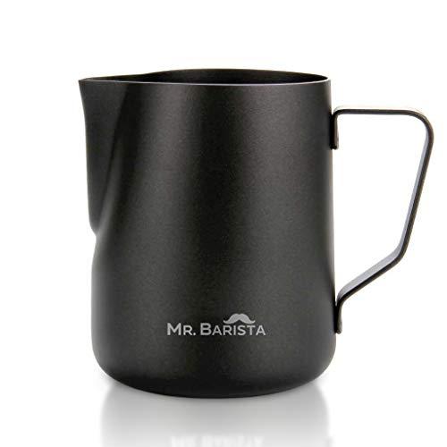 Mr. Barista® Professionelles Barista Milchkännchen 350ml aus Edelstahl - mit Teflon Beschichtung - Latte Art Ausguss - spülmaschinenfest - nachhaltig (350ml)