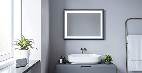 AQUABATOS® SAUTENS-Serie 80x60 cm LED Badspiegel Badezimmerspiegel mit Beleuchtung Dimmbare Touch Kaltweiß 6400K Warmweiß 3000K Beschlagfrei Antibeschlag Aluminium Rahmen in Schwarz matt IP44 CE