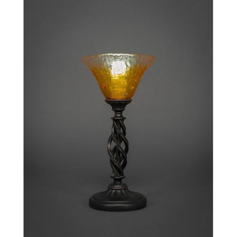 ミニテーブルランプWゴールドシャンパンクリスタルガラスin Dark Granite