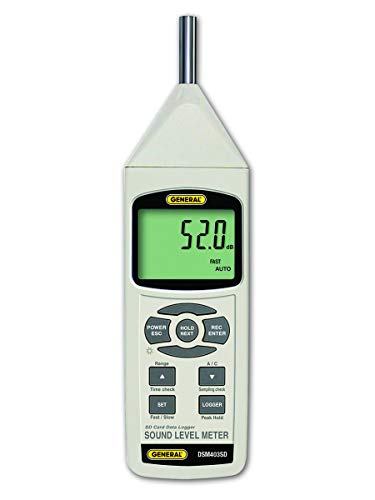 General Tools DSM403SD Sound Level Meter with Data Logging SD Card, Class 1 Sound