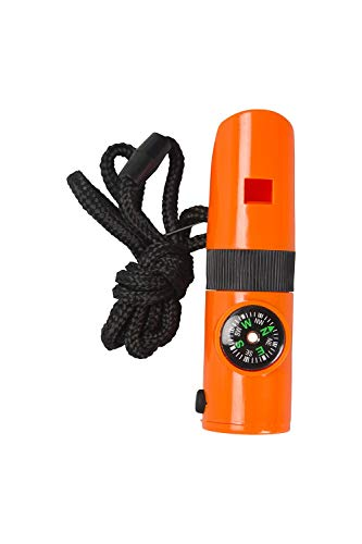 Mountain Warehouse Sifflet de Survie 7 en 1 - Rangement étanche, Miroir pour la signalisation, Boussole de Navigation, lumière LED, loupe, sifflet de sécurité Orange Taille Unique