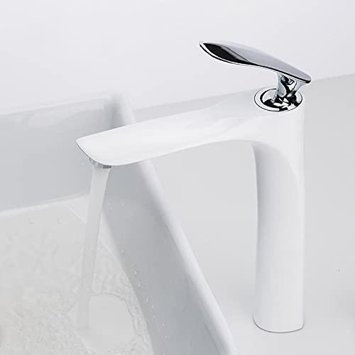 IOMLOP Grifo de la cocina Grifo de baño alto de latón con acabado blanco y cromado, grifos de baño de una manija, grifo mezclador de agua fría caliente, grifo para fregadero
