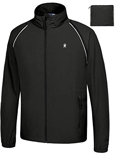 Little Donkey Andy Men's Quick-Dry Running Jacket, Convertible UPF 50+ Cycling Jacket Windbreaker with Removable Sleeves, Black Size M