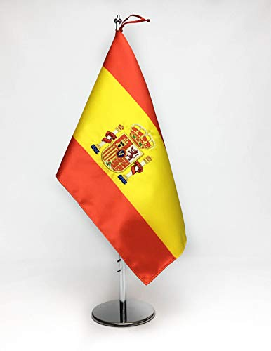 ABBE Global Bandera de Mesa Bordada España 20x30 y mástil