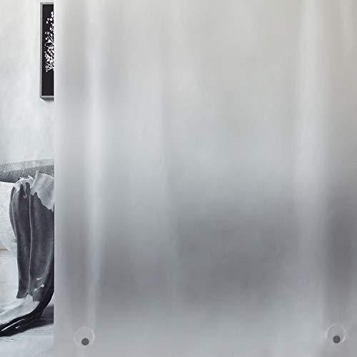 WELTRXE Duschvorhang mit Gewicht Magnet unten, Semitransparent Mattglasartig Eva Wasserdicht Vorhang für Dusche und Badewanne, 0.1mm[120x180cm]Weiche Dünne Badevorhänge mit 8 Duschvorhangringen Kinder