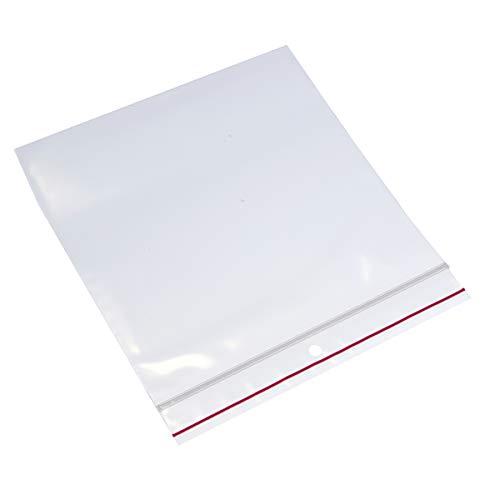 Minigrip Red Line MGRL4PH0606 Polyethylene (LDPE/LLDPE Blend) Clear Reclosable Bag, Hang Hole, 6