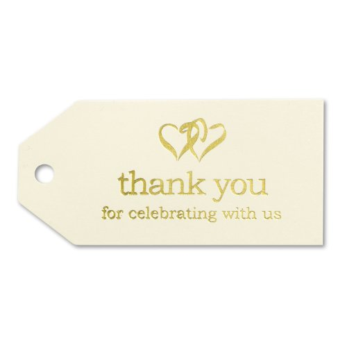 Hortense B. Hewitt Wedding Accessories 25-Pack Linked at the Heart Favor Cards, Cream/Gold