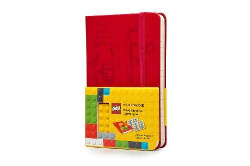 """Moleskine Limited Edition Lego Notebook, Hard Cover, Pocket (3.5"""" x 5.5"""") Ruled/Lined, Scarlet Red, 192 Pages -  LELE14MM710"""