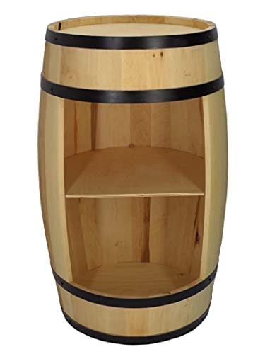 Barril de madera para casa – Armario para vino en estilo retro – Barril de vino – Botellero de madera – 80 cm de altura – Muebles elegantes – Mesa alta y soporte para botellas (madera natural)