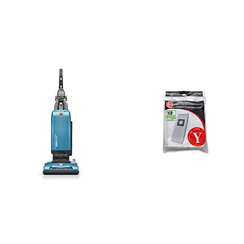 Hoover WindTunnel T-Series Tempo Bagged Upright Vacuum Cleaner, UH30301, Blue and Hoover Type Y Allergen Bags, for WindTunnel Vacuum Cleaners, 3-Pack, 4010100Y, White, One Pack, 3 Count