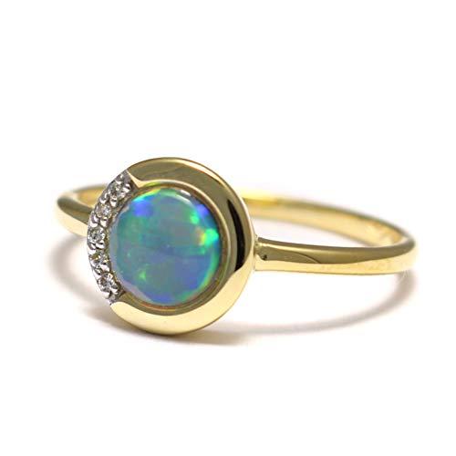 Opal Ring 585 Gold, Regenbogen Opal in Goldring, australischer Opal Gold Ring, Feueropal Ring 585 Gold, Opal Verlobungsring Gold