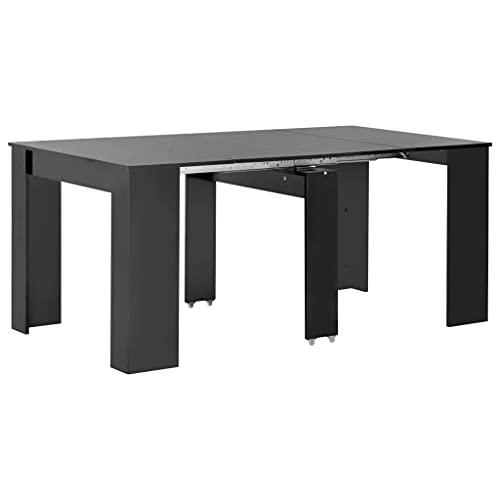 FAMIROSA Extendable Dining Table High Gloss Black 175x90x75 cm