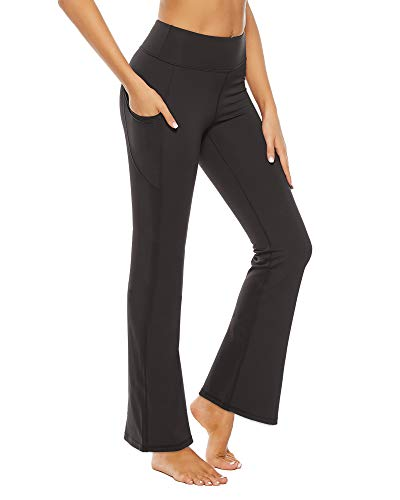 STELLE Women Bootcut Yoga Pants with Pockets High Waisted Bootleg Workout Pants Flare Work Pants 30'' (Black, Small)