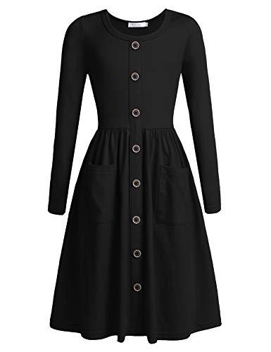Bricnat Kleider für Mädchen Lang Baumwolle Knielang Schwarz mit Taschen Knopfen Prinzessinkleid Langarm Festzug Freizeitkleid Festliches Kleid T-Shirt Kleid für Halloween Weihnachten Herbst Winter