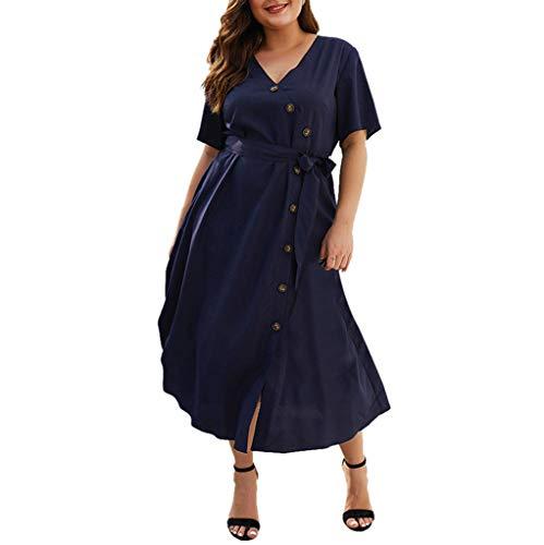 N//A Saitone Womens Wrap Solid Button V-Neck Dress Ladies Summer Holiday Dress (Navy, XL)