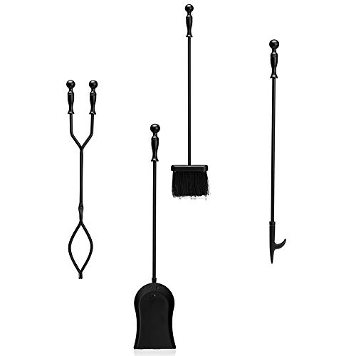 DOEWORKS 4 Pieces Fireplace Tools Sets with Handles Wrought Iron Fire Tool Set for Indoor Fireplace and Outdoor Fire Pit (Poker, Tongs, Shovel, Brush)
