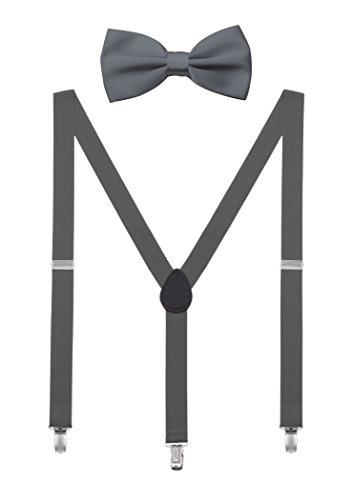 DEBAIJIA Conjunto Tirantes y Pajarita Para Hombre Mujer Elástica Y Forma Ajustable Unisex 2,5 cm Ancho Gris oscuro