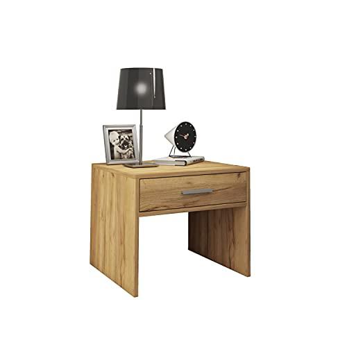 Generic Leonie - Mesa auxiliar (5 cm, con cajón y tablero de madera de roble)
