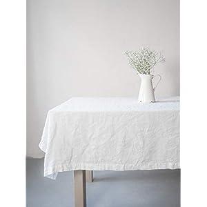 Elegante weiße Leinentischdecke | Leinentischtextilien