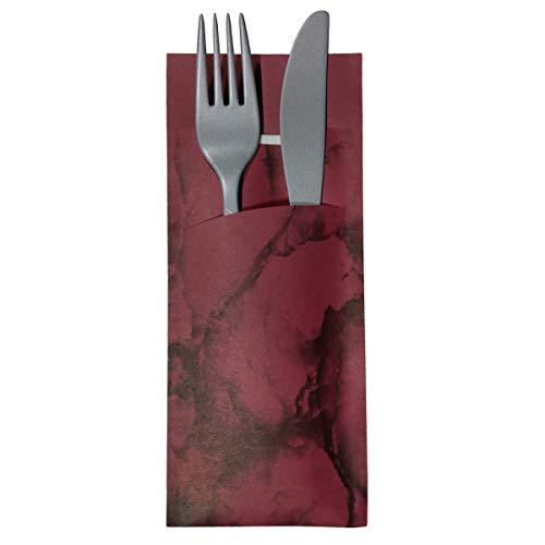 Gastropapier 520 Bestecktaschen mit Serviette Bordeaux marmoriert 20 cm