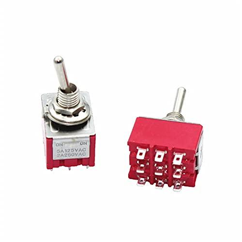 BAIJIAXIUSHANG-TIES Industrial eléctrico 10pcs Mini Interruptor de Palanca de 9 pcs 3PDT ON-ON/ON-OFN-ON 2A250V / 5A125VAC MTS-302 MTS-303 (Color : ON Off ON)