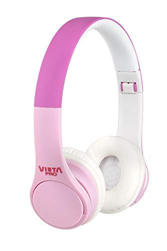 Vieta Pro Kids – Auriculares inalámbricos (Bluetooth, radio FM, micrófono integrado, entrada Auxiliar, reproductor Micro SD, plegables, autonomía 15 horas) rosa y blanco